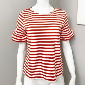 J.Crew Striped Ruffle Sleeve Tee